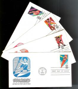 UNITED STATES FDCs (4) 20¢ Summer Olympics 1984 Artmaster