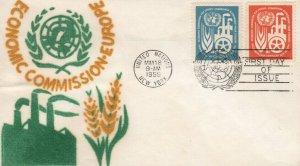 UN #71/72 -  ECONOMIC COMMISSION  FDC - Velvatone cachet