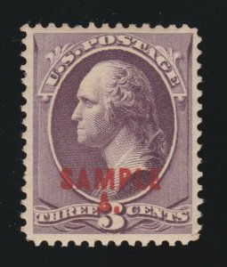 US 214SL 3c Washington Specimen VF OG H SCV $75