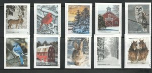 5561-70 Winter Scenes US Booklet Set Of 10 Singles  MNH SHIPS FREE AFTER 10/25