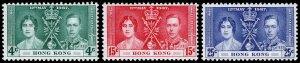 Hong Kong Scott 151-153 (1937) Mint LH VF Complete Set C