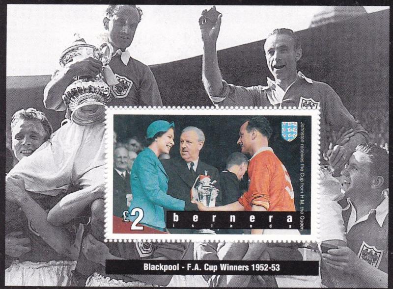 Bernera FA Cup Winners Blackpool 1952-53 Mini Sheet Unused VGC