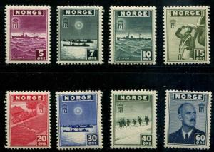 Norway SC# 259-65 War Ships, Planes, Troops & King set 259-66 MNH 266MLH