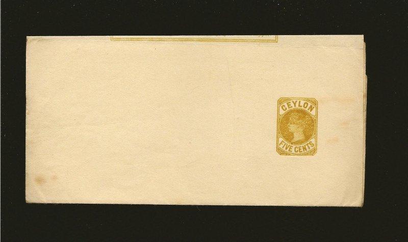 Ceylon Queen Victoria Five Cents  Newspaper Wrapper Unused