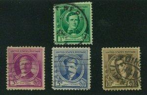 US 1940 Famous Americans: Composers, Scott 879, 881-883, Value = $2.10