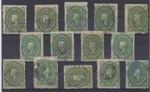 MEXICO 1884 HIDALGO Sc 151 GROUP OF 14 SINGLES ON CARD SHADES & PAPERS USED