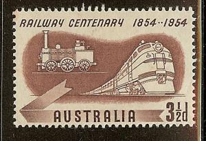 Australia, Scott #275, 3 1/2p Railway Centenary, MLH