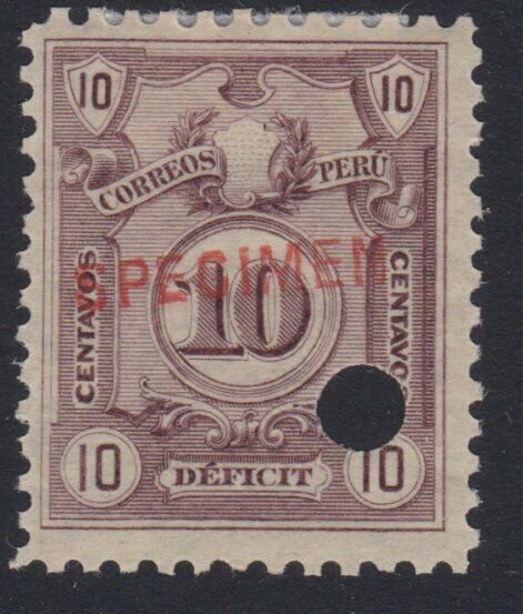 PERU 1909 Postage due SPECIMEN opt in red + security punch hole ............7976