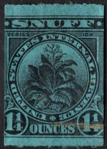 Snuff Tax Stamp: 1¼ Ounce: Series 104 (1934) Used