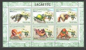 Mozambique. 2007. Small sheet 2991-96. Lizards, fauna. MNH.