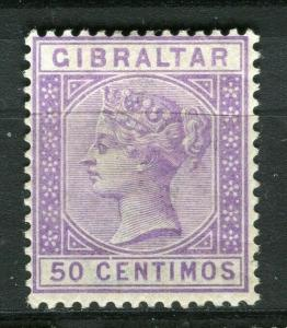 GIBRALTAR; 1889 early classic QV issue fine Mint hinged Shade of 50c. value