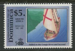 DOMINICA -Scott 1304 - Voyages of Discovery -1991 - MNH- Single $5.00c Stamp