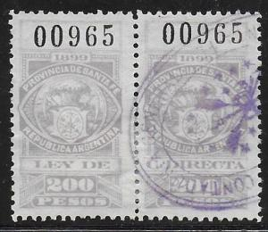 Argentina 1899 Santa Fe Revenue 200P Used Pair. Usual Small faults