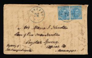 GENUINE CSA SCOTT #6 PAIR NICELY TIED ASHBORO BLUE CANCELS TO CRYSTAL SPRINGS MS
