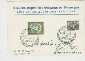 Berlin 1956 Koln ACCP Slogans American Coll. Chest Physicians Stamps Card 26073