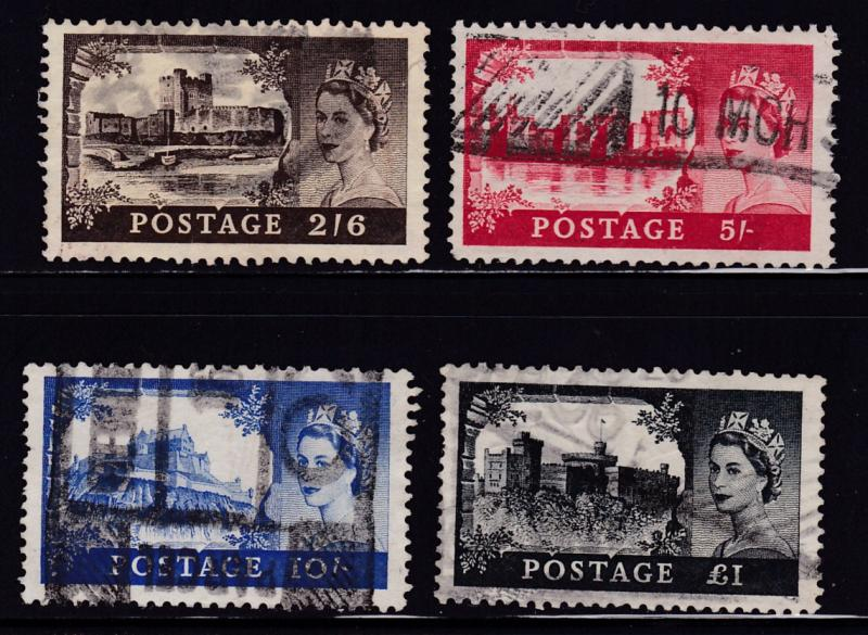 Great Britain 1955 QEII High Value Castles (4)   F/VF/Used(*)