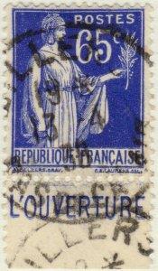 FRANCE - 1937 Pub CCP (L'OUVERTURE) sur Yv.365b 65c Paix - Obl. TB (B1)