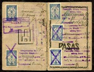 p819 - LITHUANIA Panevezis 1920s-30s Municipal REVENUE Stamps on Passport.