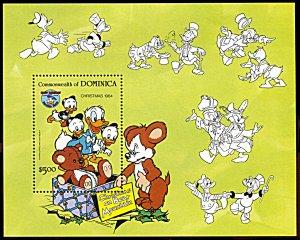 Dominica 874, MNH, Disney Christmas 1984, 50th anniv. Donald Duck souvenir sheet