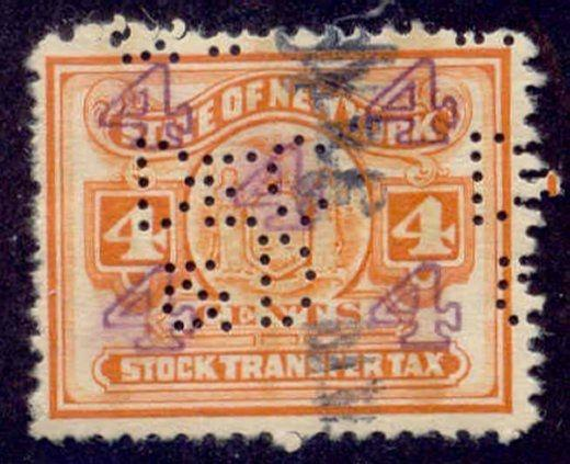 New York State Revenue Stamp 4c Stock Transfer Tax # ST98