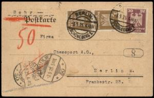 Germany 1925 Weimar Berlin Rohrpost Pneumatic Mail Cover 82920