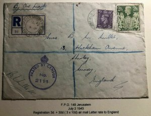 1943 Jerusalem Palestine British Field Post Airmail Censored Cover To England