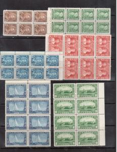 Canada #211 - #216 VF/NH Blocks Of Eight
