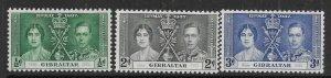 GIBRALTAR SG118/20 1937 CORONATION SET MTD MINT