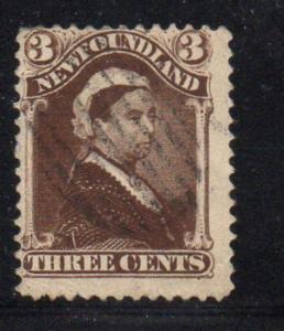 Newfoundland Sc 51 1897 3 c umber brown Victoria stamp used