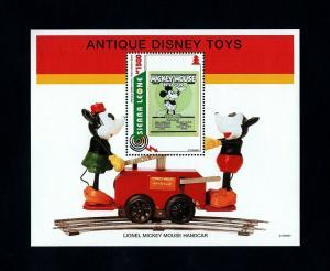 SIERRA LEONE - 1995 - DISNEY - MICKEY - ANTIQUE TOY - HANDCAR - MNH S/SHEET!