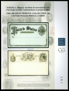 Schuyler Rumsey Auction Catalog: Bradley Horton Coll. of U.S. Postal Cards, 2018