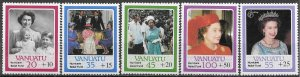 Vanuatu Hurricane Relief ~ QEII 60th Birthday 1987 Semi Postal Scott B2-B6 MNH
