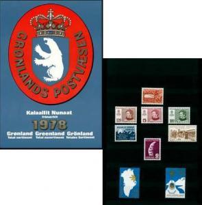 Greenland Scott 107, 86, 92, 93, 108, 109, 102 Unused.