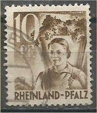 RHINE PALATINATE, 1948, used 10pf, Girl Scott 6N19