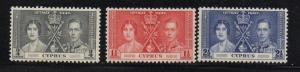 Cyprus Sc  140-2 1937 Coronation G VI stamp set mint NH