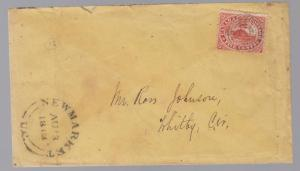 1863 Newmarket Canada Cover to Whitby # 15 on cover