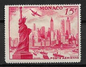1947 Monaco C20 15f Statue of Liberty and New York City Skyline  used