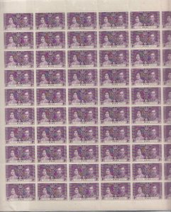 FIJI, 1937 Coronation, 1d. Purple, pane of 60, mnh.