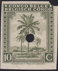 BELGIAN CONGO Waterlow proof 10c Palm with security punch...................7919