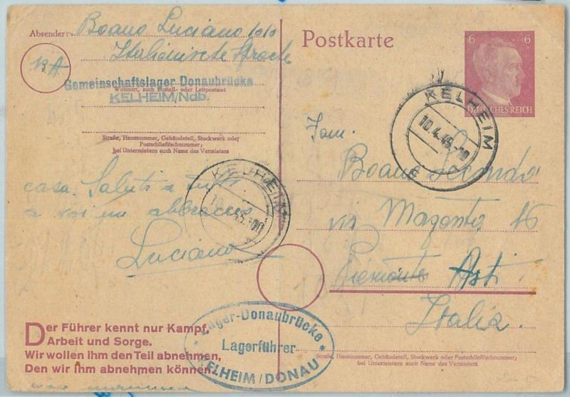 66774 - GERMANY - Postal History - STATIONERY CARD from LAGER DONAUBRUCKE  1945