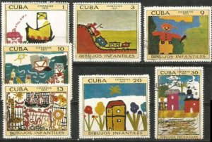 CUBA Sc# 1633-1639  CHILDRENS' ART drawings CPL SET of 7  1971  used / cancelled