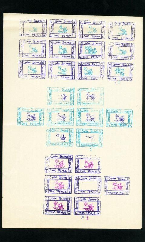 Swan Islands 5 Rare Full Sheet Stamp Selection