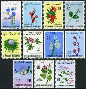 Tunisia 499-509,MI 699-702,715-721,MNH. Flowers.Jasmine,Geranium,Lily,1968-1969