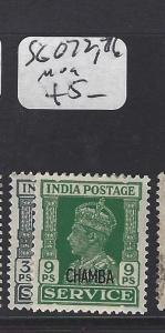 INDIA CHAMBA  (PP0807B) KGVI   SG O72, 76   VFU