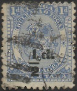 Tonga 1893 SG19 ½d on 1d Coat of Arms FU