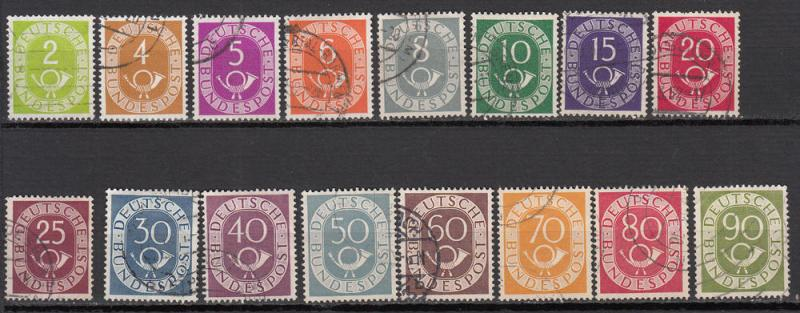 Germany - 1951 Post Horn complete set Sc# 670/685 (7994)