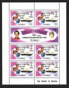 Tuvalu. 1982. Small sheet 161-62. Princess Diana, ships. MNH.