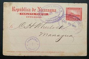 1900 Corinto Nicaragua Postal Stationery Postcard Cover To Managua