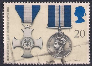 GB 1990 QE2 20p Gallantry Medals SG 1519 used stamp ( B1458 )