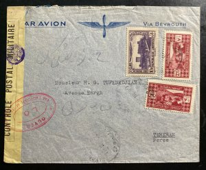 1940 Beirut Lebanon Airmail Censored Commercial Cover to Perse